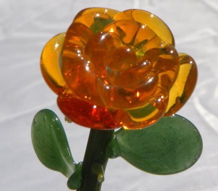 Custom Made Yellow Hand-Blown Glass Rose Ornament