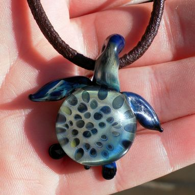 Custom Made Blue And Grey Glass Sea Turtle Pendant