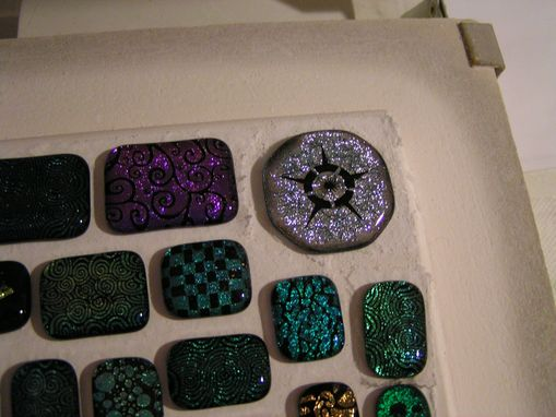 Custom Made Laser Etched Dichroic Fused Glass Pendant With Cord