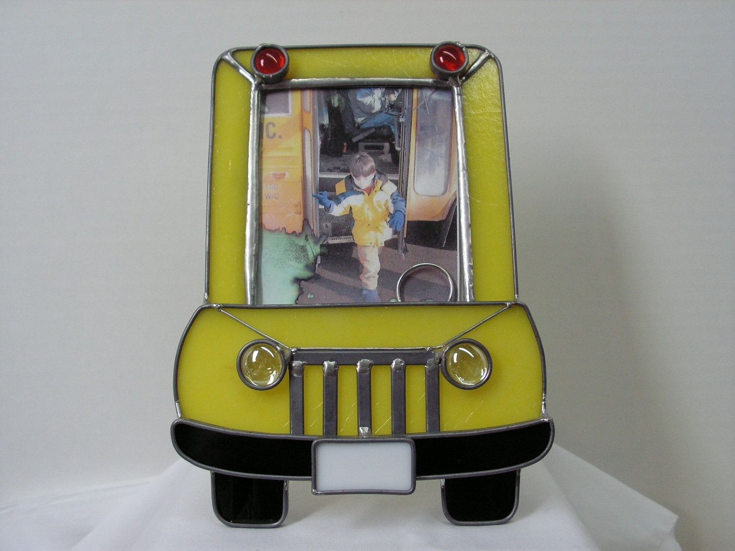 Custom Yellow Stained Glass School Bus Tabletop Picture Frame By