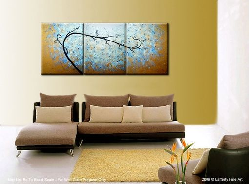 Custom Made Abstract Blue Gold Textured Tree Painting, Original Landscape Impressionist Art, Fine Art Painting