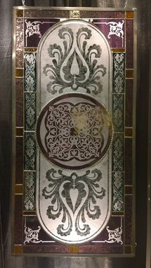 Custom Made Exquisite Sandcarved Stained Glass Panel