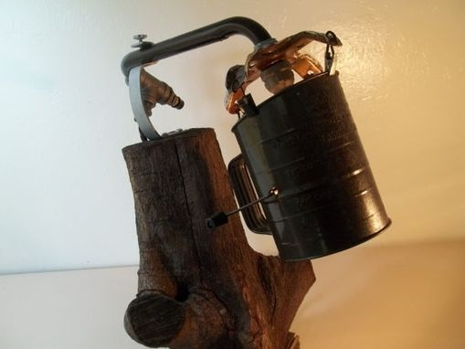 Custom Made Reclaimed Weathered Wood Minimalist Table Lamp