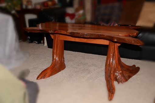 Custom Made Pine Stump And Alder Coffee Table