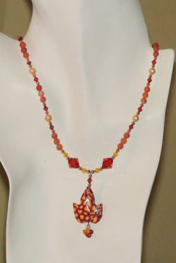 Custom Made Carnelian, Pearls & Swarovski Crystals In Gold-Plated