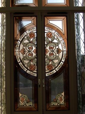Custom Made Custom Entry Way In Stained Glass With Hand Painted Kiln Fired Center Circle And Acanthus Leaf Borders