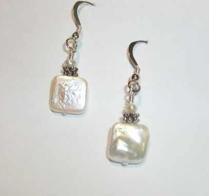 Custom Made Freshwater Pearl Square Earrings