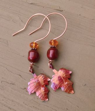 Custom Made Copper Handmade Maple Leaf Pendant Autumn Necklace And Earring Set
