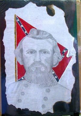 "Custom Made 12"" X 18"" Original Nathan Bedford Forrest Pencil /Acrylic Portrait"
