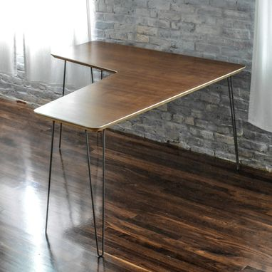 Custom Made Modern Walnut And Steel Office Desk