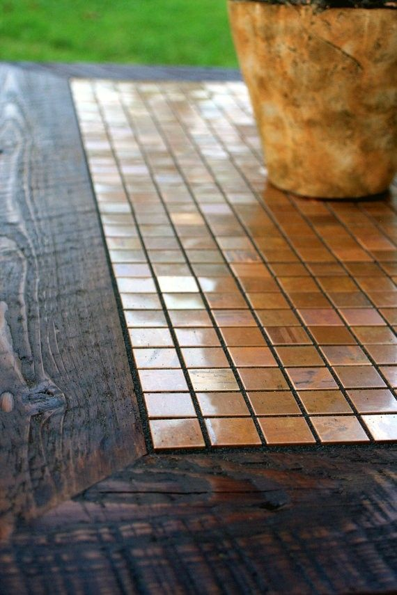 Custom Made Coffee Table Copper Mosaic Tile Framed With Barnwood Dark Brown Hand Rubbed