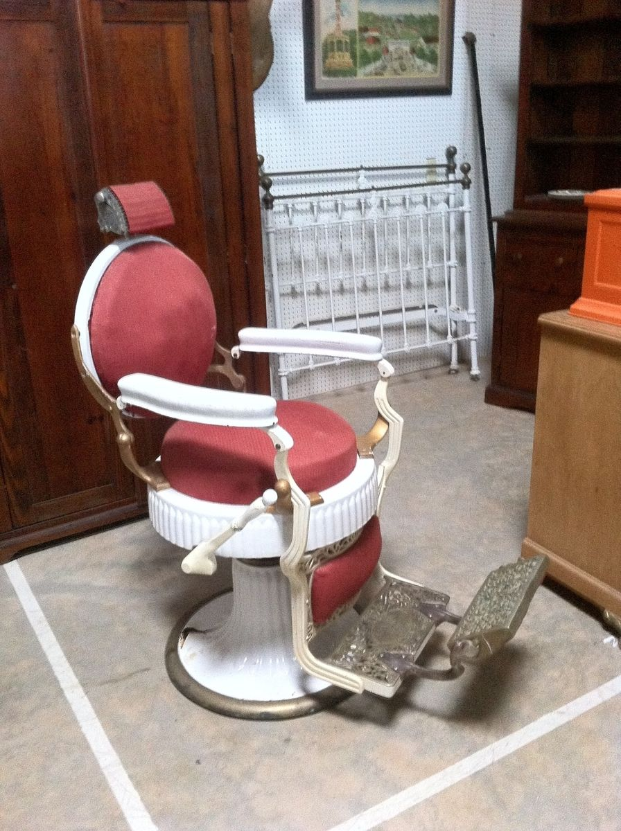 Custom Made 1920'S Koken Double Round Barber Chair by Custom Barber Chairs  | CustomMade.com - Custom Made 1920'S Koken Double Round Barber Chair By Custom Barber