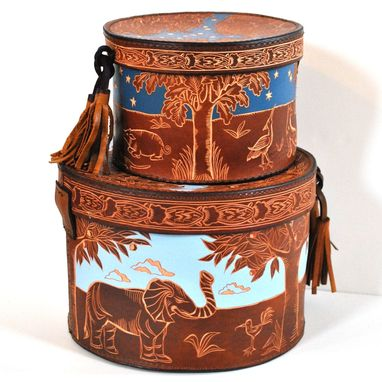 Custom Made Carved Leather Hatbox Set
