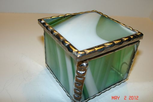 Custom Made 2 X 2 X 1 1/2 Bright White And Periot Green Stained Glass Boxes