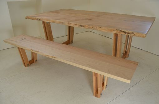 Custom Made Curly Maple Live Edge Table And Bench With Inlay