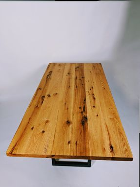 Custom Made Reclaimed Wood Dining Table - Metal Base