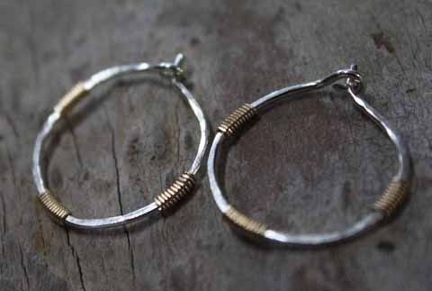 Custom Made Sterling Silver & Gold - Wrapped Hoop Earrings