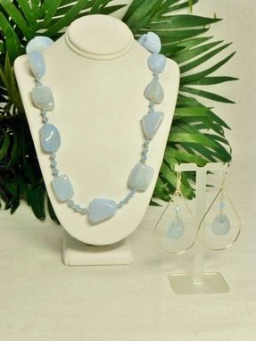 Custom Made Set - Lt Blue Chalcedony Nuggets And Swarovski Crystal Necklace And Earrings