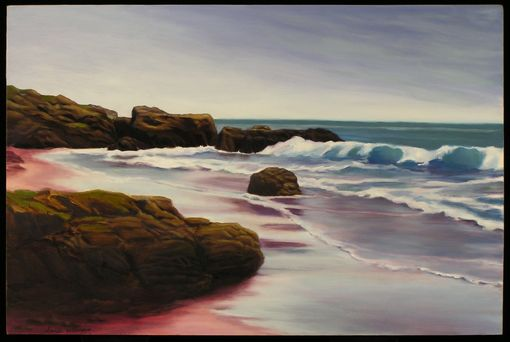 Custom Made Oil On Canvas Beach Scene