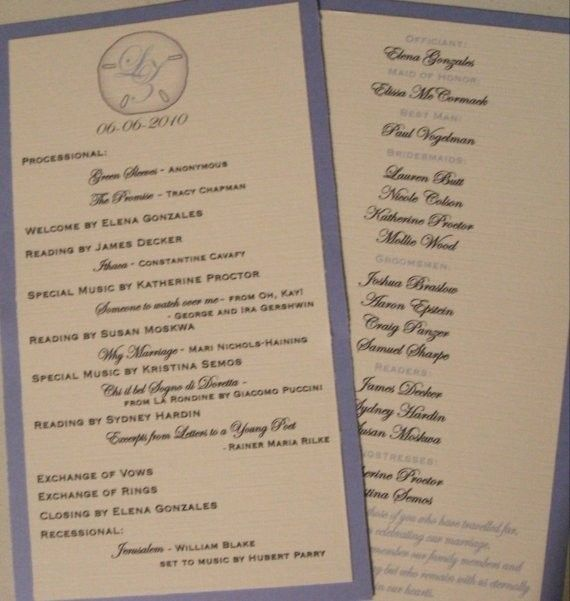 hand crafted 150 double sided tea length wedding programs your