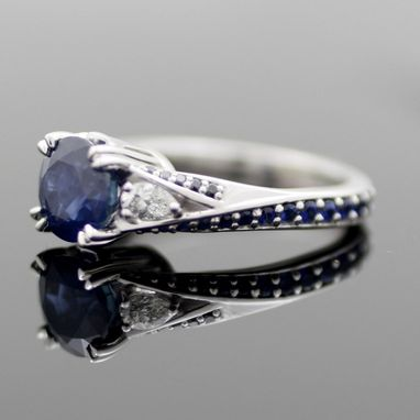 Custom Made Stunning Natural Sapphire And Diamond Ring