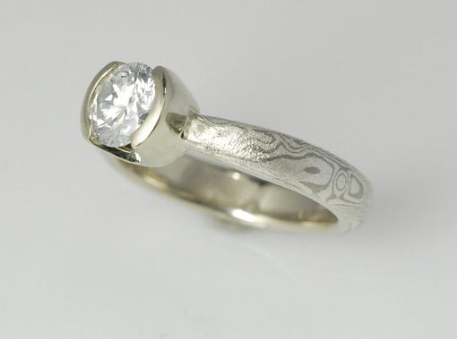Custom Made 14k Palladium White Gold And Sterling Mokume Gane Solitaire With Half Bezel Head