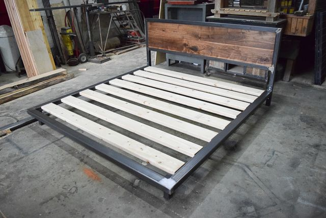 Buy A Hand Made Bed Frame And Walnut Headboard King Sized