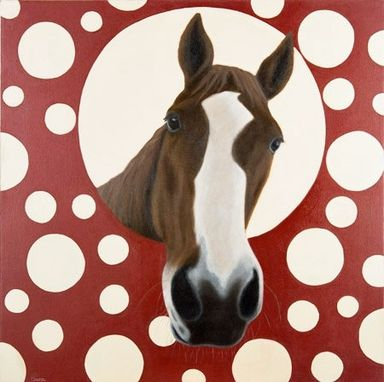 Custom Made Quarter Horse Painting With Polka Dots - Oil On Canvas 24 X 24 Inches