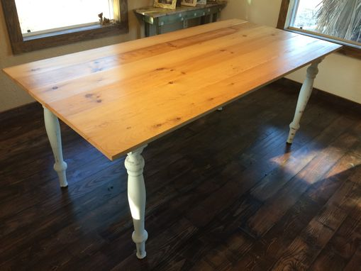 Custom Made Reclaimed Pine 3 Ft. X 6 Ft. Farm Table With Distressed Legs And Skirting.
