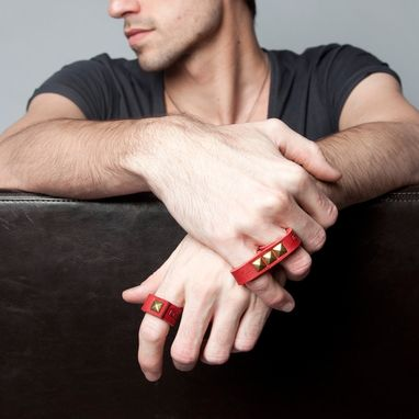 Custom Made Red Leather Ring With Brass Pyramid Spike Rivet