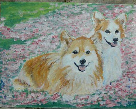 Custom Made Custom Pet Portrait Of Llyr And Gwennan, Pembroke Welsh Corgis