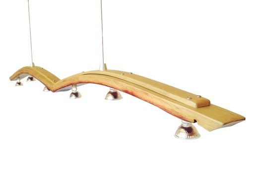 Custom Made Seagull, Recycled Wine Barrel Stave Long Pendant Light, Kitchen Island Light
