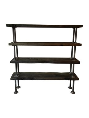 Custom Made Reclaimed Wooden Bookcase With Industrial Pipe Legs