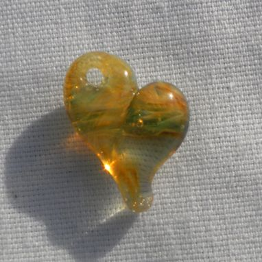 Custom Made Clear Glass Heart Pendant With Amber And Purple Swirls