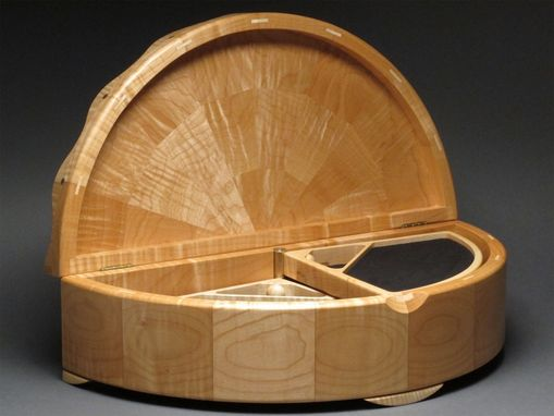 Custom Made Carved Curly Maple Jewelry Box With Rotating Trays