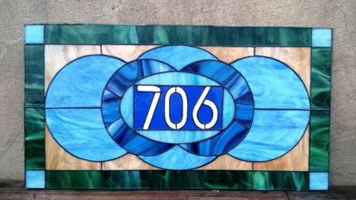 "Custom Made Stained Glass Address Marker - ""Traditional Shapes"" (Am-167)"