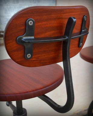 Custom Made Industrial Stool With Back