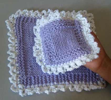Custom Made Pretty Hand Knit Deluxe Sponge And Washcloth Set - In Lavender And White/Lace Edge