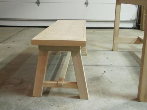 Custom Made Trestle Dining Table And Benches