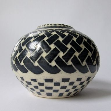Custom Made Handmade Stoneware Vase With Celtic Knot And Checkered Pattern