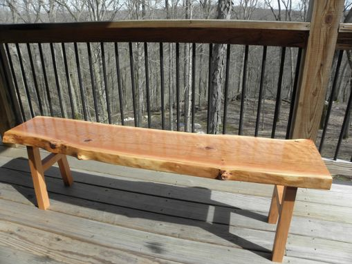 Custom Made Rustic Industrial Solid Wild Cherry Live Edge Bench