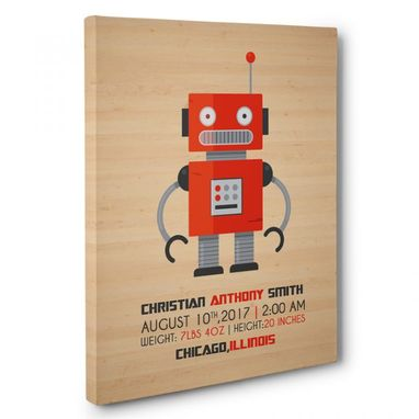 Custom Made Wooden Robot Boy Nursery Canvas Wall Art
