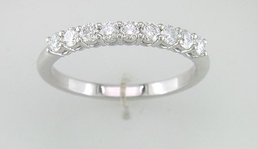 Custom Made 18k White Gold 9 Stone Wedding Band