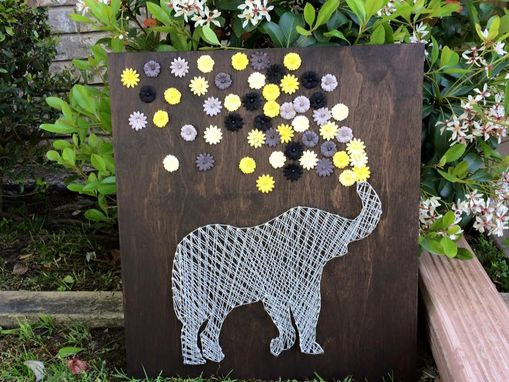 Custom Made Nursery String Art - Elephant Balloon