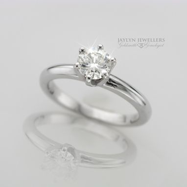 Custom Made Classic 0.83 Carat Diamond And White Gold Engagement Ring
