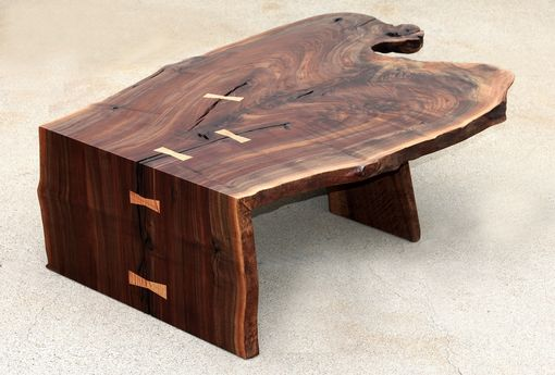 Custom Made Modern Coffee/Cocktail Table, Waterfall, Walnut