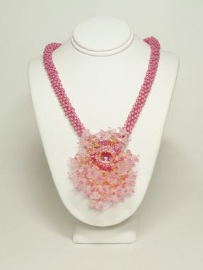 Custom Made Pink Flower Kumihimo Necklace
