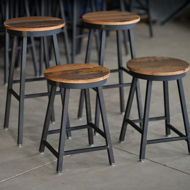 Handmade Reclaimed Barnboard Oak Custom Raw Steel Bar Stools Made To Order From Corl Design Ltd Custommade