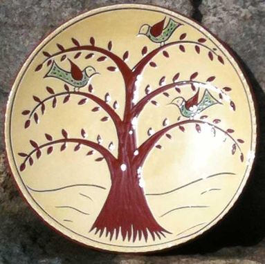 Custom Made Ceramic Plate With Tree And Three Birds