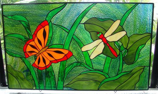 Custom Made Monarch Butterfly & Dragonfly Stained Glass Window